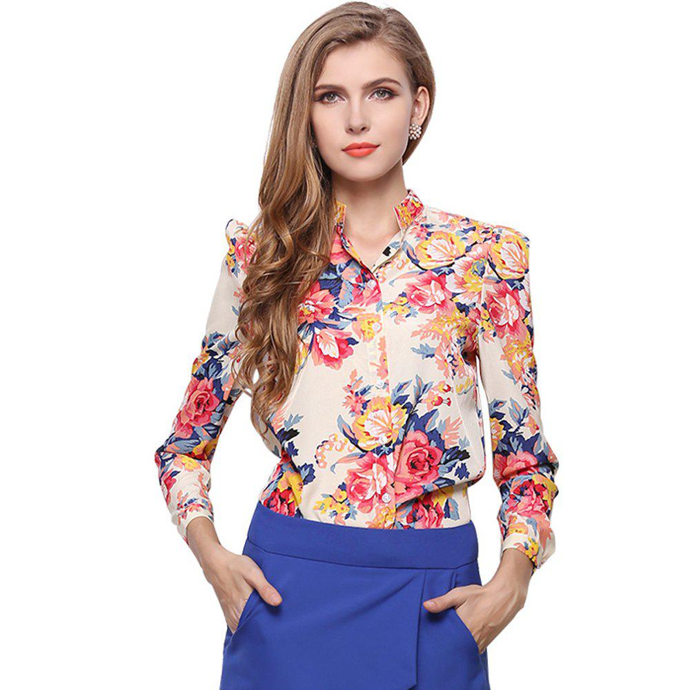 New Floral Long Sleeve Vintage Turn-Down Collar Chiffon Blouse - FLOWER L