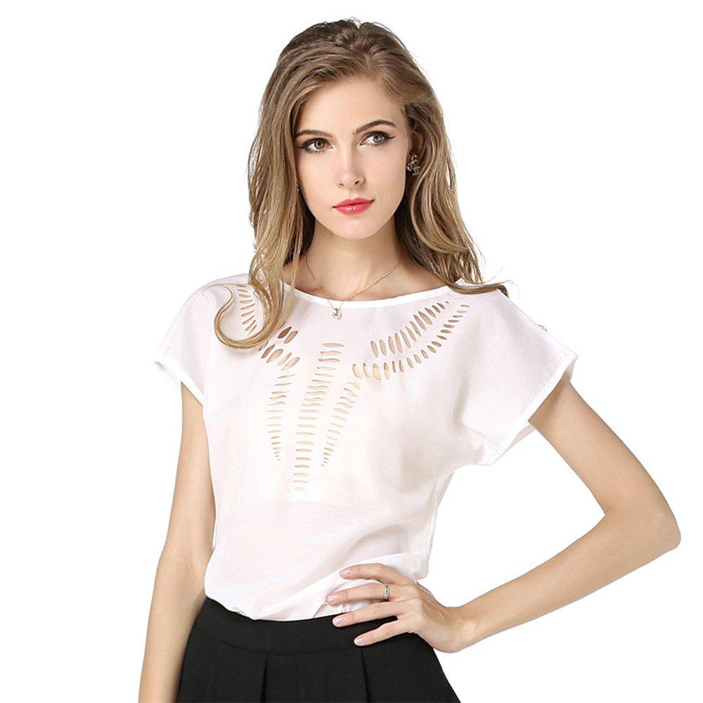 Summer Chiffon Blouse Shirt Women Vintage Hollow Out Casual Shirt Top - WHITE L