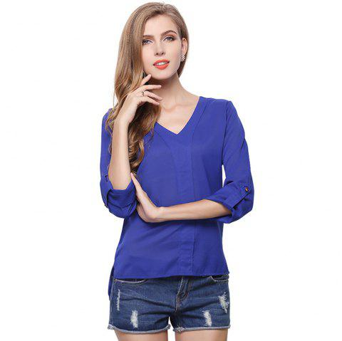Fashion Women Summer V Neck Chiffon Blouse Shirt Lovely Casual Long Sleeve Shirt Top - BLUE L
