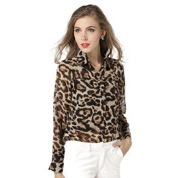Women Blouses Fashion Casual Chiffon Blouse Shirt Loose Sheer Long Sleeve Shirt Top - LEOPARD ONE SIZE