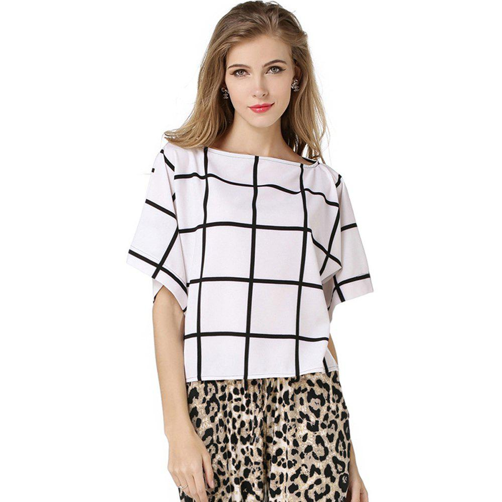 Summer Women Blouse Checked Print Shirt Brand New Casual Chiffon Blouse Women Elegant Lady Office Shirts - WHITE L