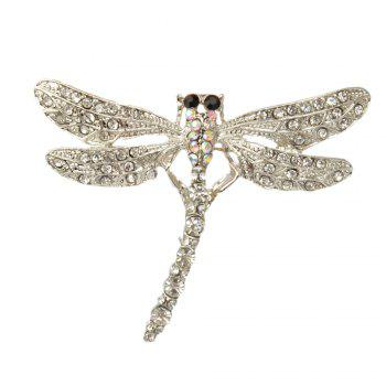 Dragonfly Brooch Pin Enamel Crystal Lovely Jewelry For Women Gift Brooches - SILVER SILVER