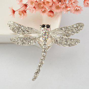 Dragonfly Brooch Pin Enamel Crystal Lovely Jewelry For Women Gift Brooches - SILVER