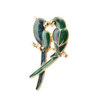 Jewelry Luxury Brooch Gold-Color with Green Enamel Couple Parrot Brooches for Lady Fashion Accessories - BLUE BLUE