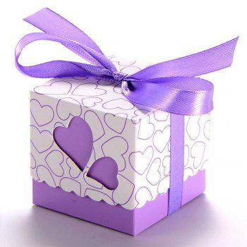 Novelty Double Hollow Love Heart Design Wedding Favor Candy Boxes Gift Boxes with Ribbons   50 pcs - PURPLE PURPLE