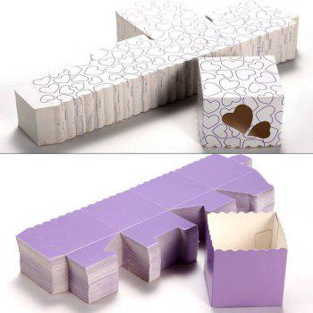 Novelty Double Hollow Love Heart Design Wedding Favor Candy Boxes Gift Boxes with Ribbons   50 pcs -  PURPLE