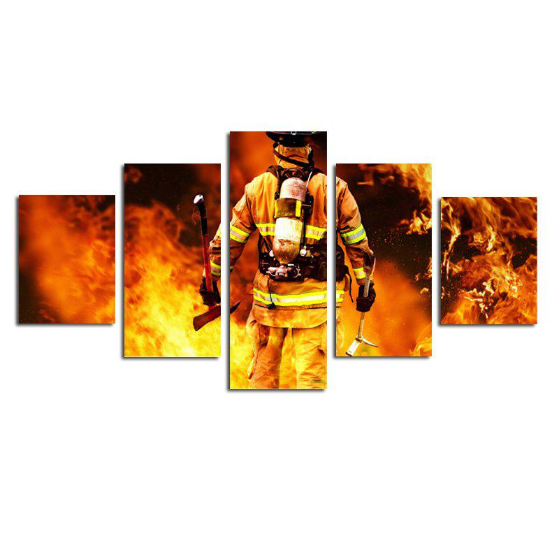 Modern Canvas Art Prints of Fireman Frameless Home Decoration 5pcs - COLORFUL