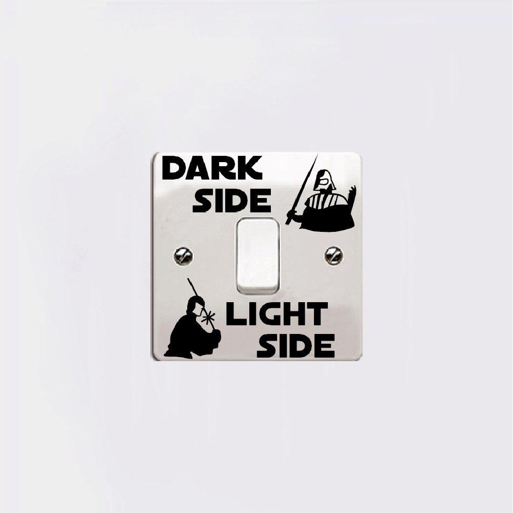 Classic Movie Dark Side Light Side Switch Sticker for Kids Room Home Decor cartoon kids light led beside toys kids pendant light lamp kids room night light for children bedroom hanging head lamp