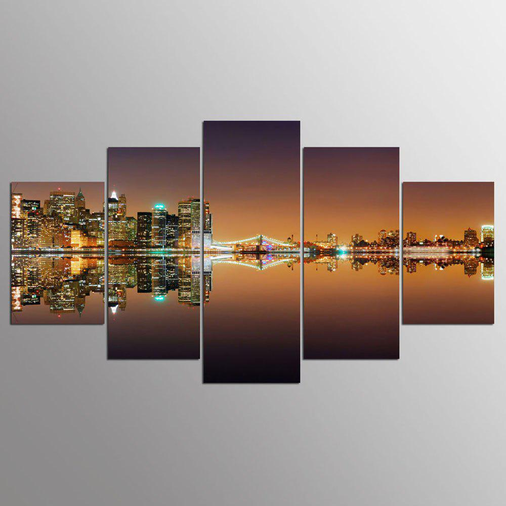 YSDAFEN 5 Pcs New York City Night View Painting Home Room Decora Wall Pictures for Living Room - COLORMIX 30X40CMX2+30X60CMX2+30X80CMX1(12X16INCHX2+12X24INC