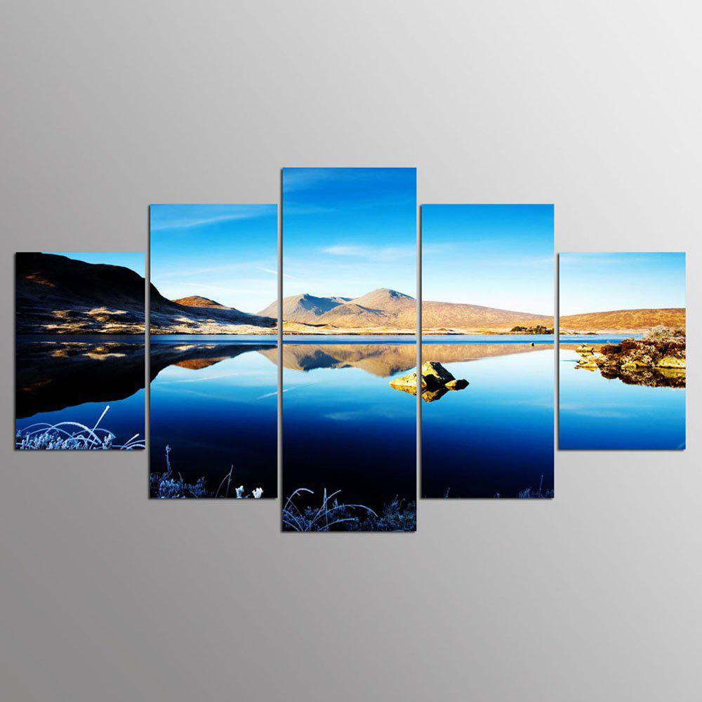 YSDAFEN 5 Panels Mountain Blue Sky Lake Scenery Picture HD Canvas Print For Home Decoration - COLORMIX 30X40CMX2+30X60CMX2+30X80CMX1(12X16INCHX2+12X24INC