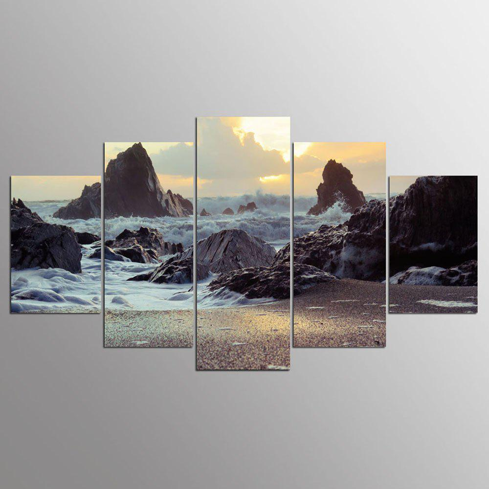 YSDAFEN 5 Piece Modern Sea Koast Cuadros Decoracion Canvas Painting Wall Pictures For Living Room - COLORMIX 30X40CMX2+30X60CMX2+30X80CMX1(12X16INCHX2+12X24INC
