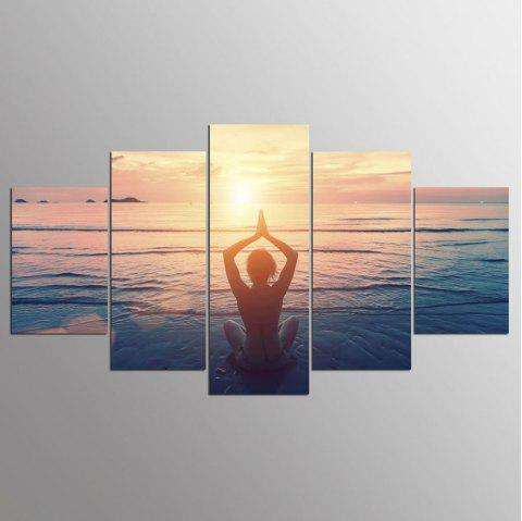 YSDAFEN 5 Panels HD Sunrise Women Beach Wall Art Painting Canvas Print Room Decor - COLORMIX 30X40CMX2+30X60CMX2+30X80CMX1(12X16INCHX2+12X24INC