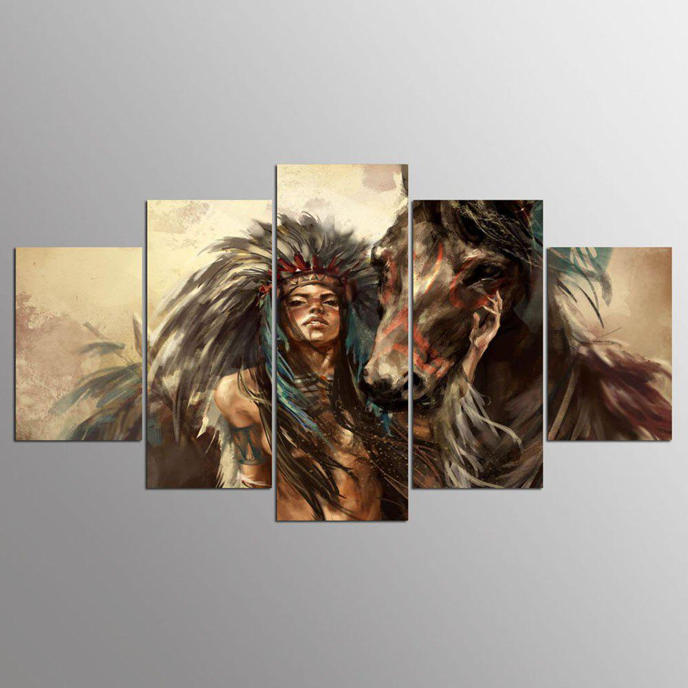 YSDAFEN 5 panneau Hd Native American Girl et Art de toile d'impression d'Art de cheval pour le salon - multicolore 30X40CMX2+30X60CMX2+30X80CMX1(12X16INCHX2+12X24INC