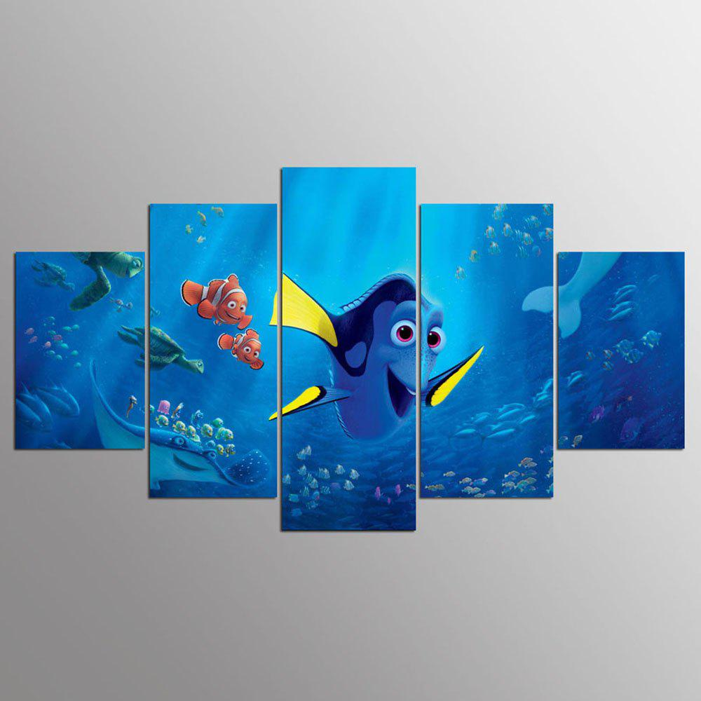 YSDAFEN 5 Pieces Cartoon Fish In The Seabed Children Room Decor for Living Room - COLORMIX 30X40CMX2+30X60CMX2+30X80CMX1(12X16INCHX2+12X24INC