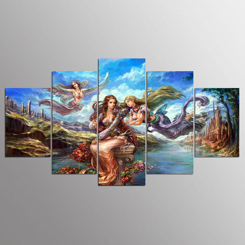 YSDAFEN 5 Piece Wall Painting Home Decor Anime Poster Angel Girl Canvas Art - COLORMIX 30X40CMX2+30X60CMX2+30X80CMX1(12X16INCHX2+12X24INC
