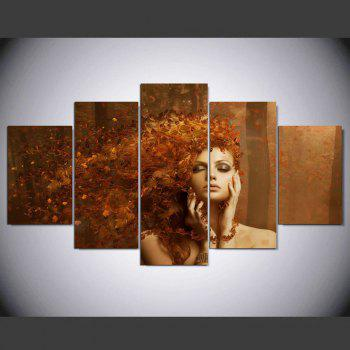 YSDAFEN 5 Pieces New Abstract Autumn Leaves on The Beautiful Girl Hair Paintings - COLORMIX 30X40CMX2+30X60CMX2+30X80CMX1(12X16INCHX2+12X24INC