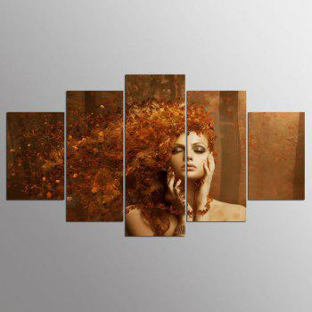 YSDAFEN 5 Pieces New Abstract Autumn Leaves on The Beautiful Girl Hair Paintings - COLORMIX COLORMIX