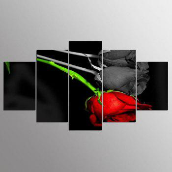 YSDAFEN 5 Pieces Red and Black Rose Wall Art on Canvas for Home Decoration - COLORMIX COLORMIX