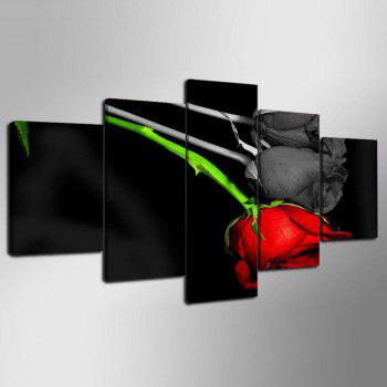 YSDAFEN 5 Pieces Red and Black Rose Wall Art on Canvas for Home Decoration - COLORMIX 30X40CMX2+30X60CMX2+30X80CMX1(12X16INCHX2+12X24INC