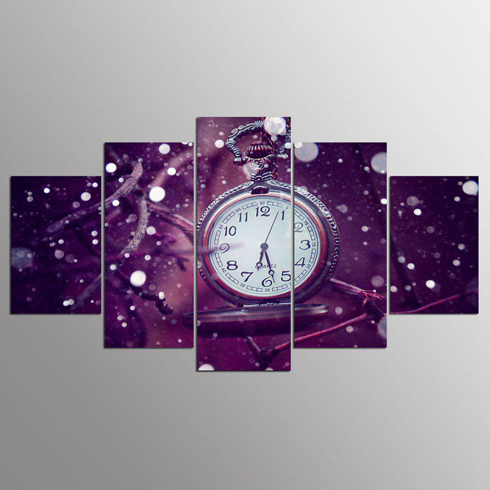 YSDAFEN 5 Pcs Watch Canvas Painting Purple Background Clock Wall Art Pictures for Living Room Decor - COLORMIX 30X40CMX2+30X60CMX2+30X80CMX1(12X16INCHX2+12X24INC