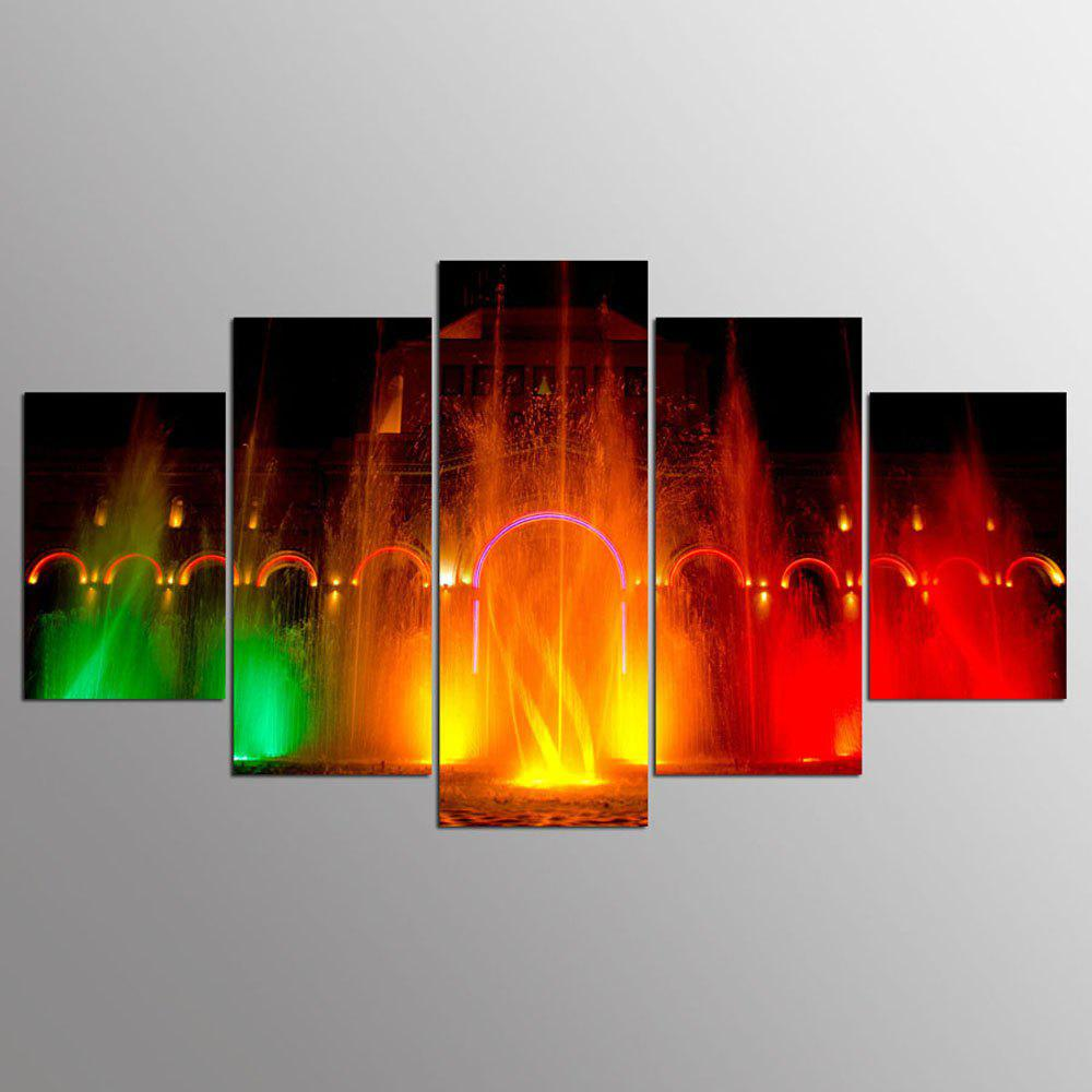 YSDAFEN 5 Pieces Town Square Water Colorful Fountain Modern Home Wall Decor Canvas Picture Art - COLORMIX 30X40CMX2+30X60CMX2+30X80CMX1(12X16INCHX2+12X24INC
