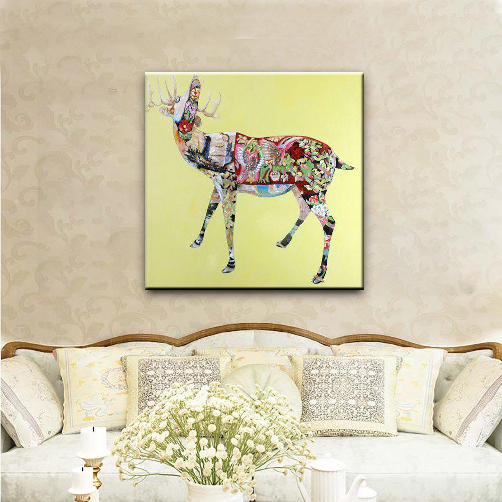 2018 YHHP Hand Painted Christmas Presents Sika Deer Canvas Oil ...