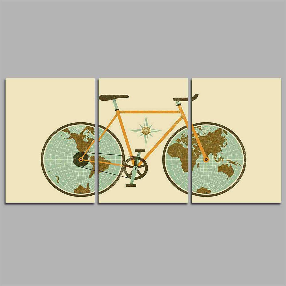 Hua Tuo A1702 Bike Style Stretched Frame Ready To Hang Size 50 x 70CM - GREEN 20 X 28 INCH (50CM X 70CM)