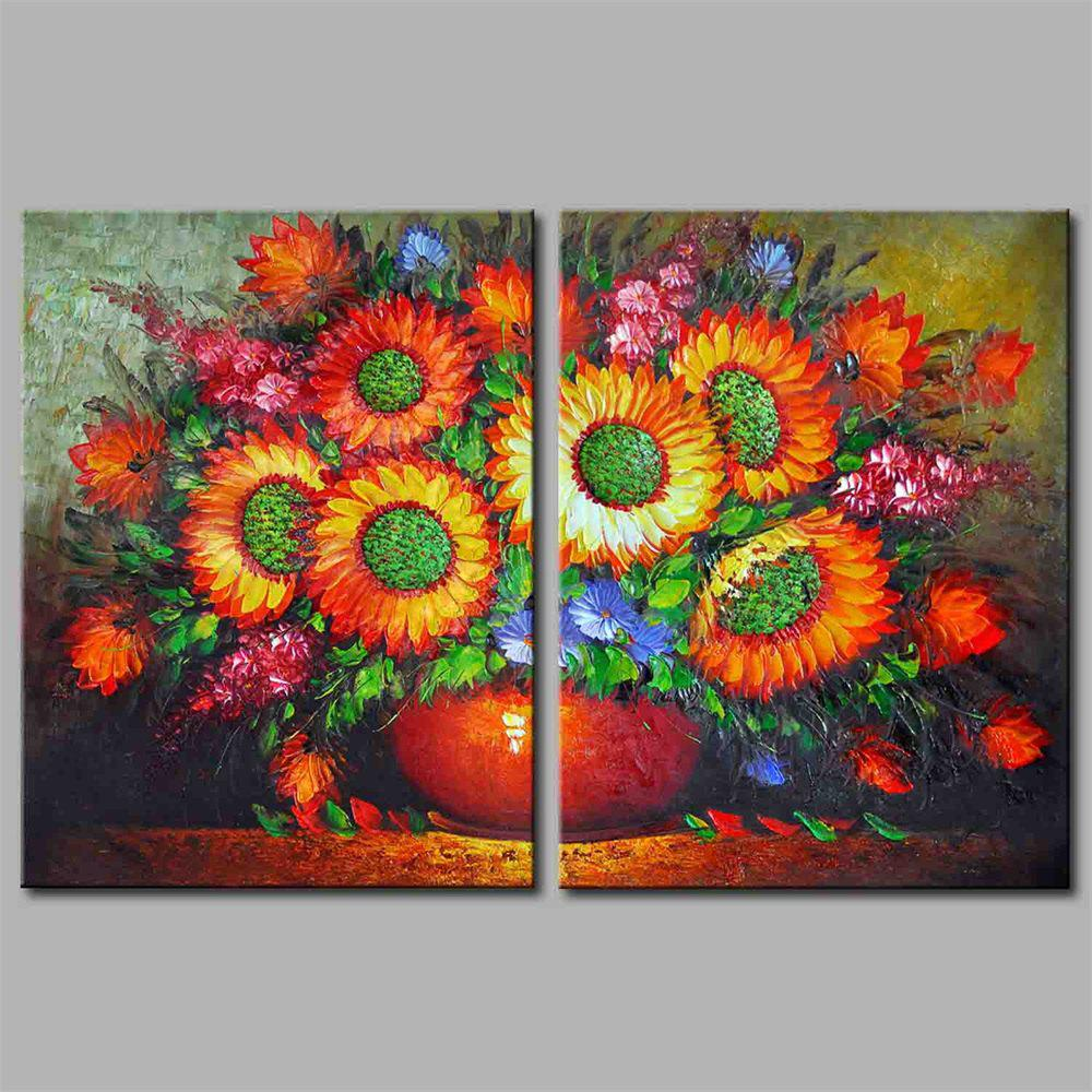 Hua Tuo A1703 Flower Style Stretched Frame Ready To Hang Size 50 x 70CM - COLORFUL FLOWER 20 X 28 INCH (50CM X 70CM)
