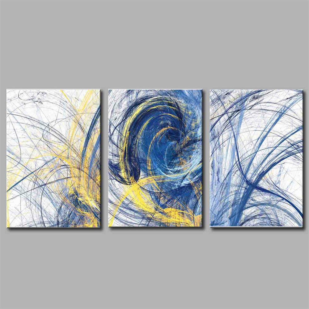Hua Tuo Abstract Style Stretched Frame Ready To Hang  Size 50 x 70CM A1714 - BLUE 20 X 28 INCH (50CM X 70CM)