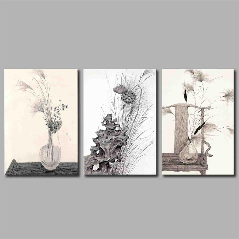 Hua Tuo A1744 Flower Style Stretched Frame Ready To Hang Size 50 x 70CM - GREY 20 X 28 INCH (50CM X 70CM)