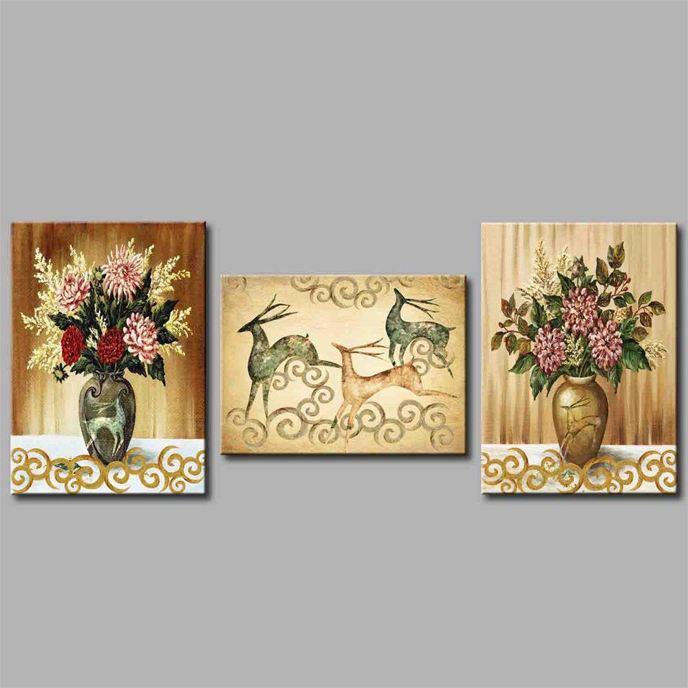 Hua Tuo Flower And Deer Style Stretched Frame Ready To Hang Size 50 x 70CM A1746 - COLORFUL FLOWER 20 X 28 INCH (50CM X 70CM)