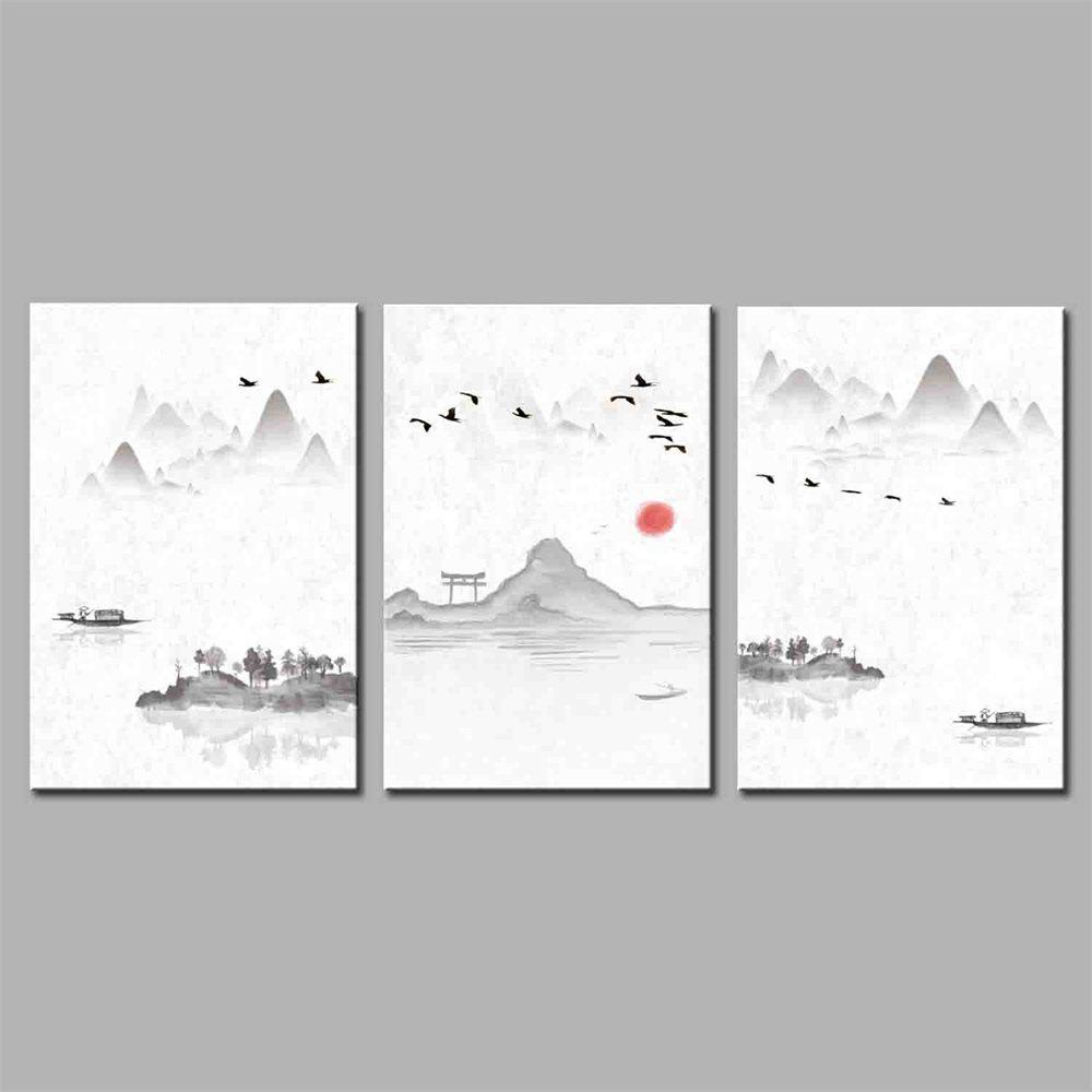 Hua Tuo Landscape Style Stretched Frame Ready To Hang Size 50 x 70CM A1749 - GREY 20 X 28 INCH (50CM X 70CM)