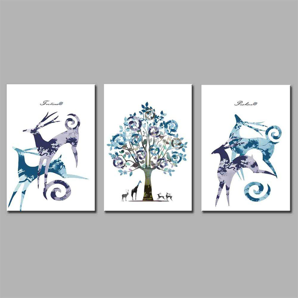 Hua Tuo Deer Style Stretched Frame Ready To Hang Size 50 x 70CM A1751 - PURE BLUE 20 X 28 INCH (50CM X 70CM)