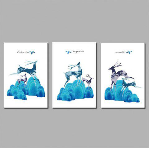 Hua Tuo Deer Style Stretched Frame Ready To Hang Size 50 x 70CM A1753 - BLUE 20 X 28 INCH (50CM X 70CM)