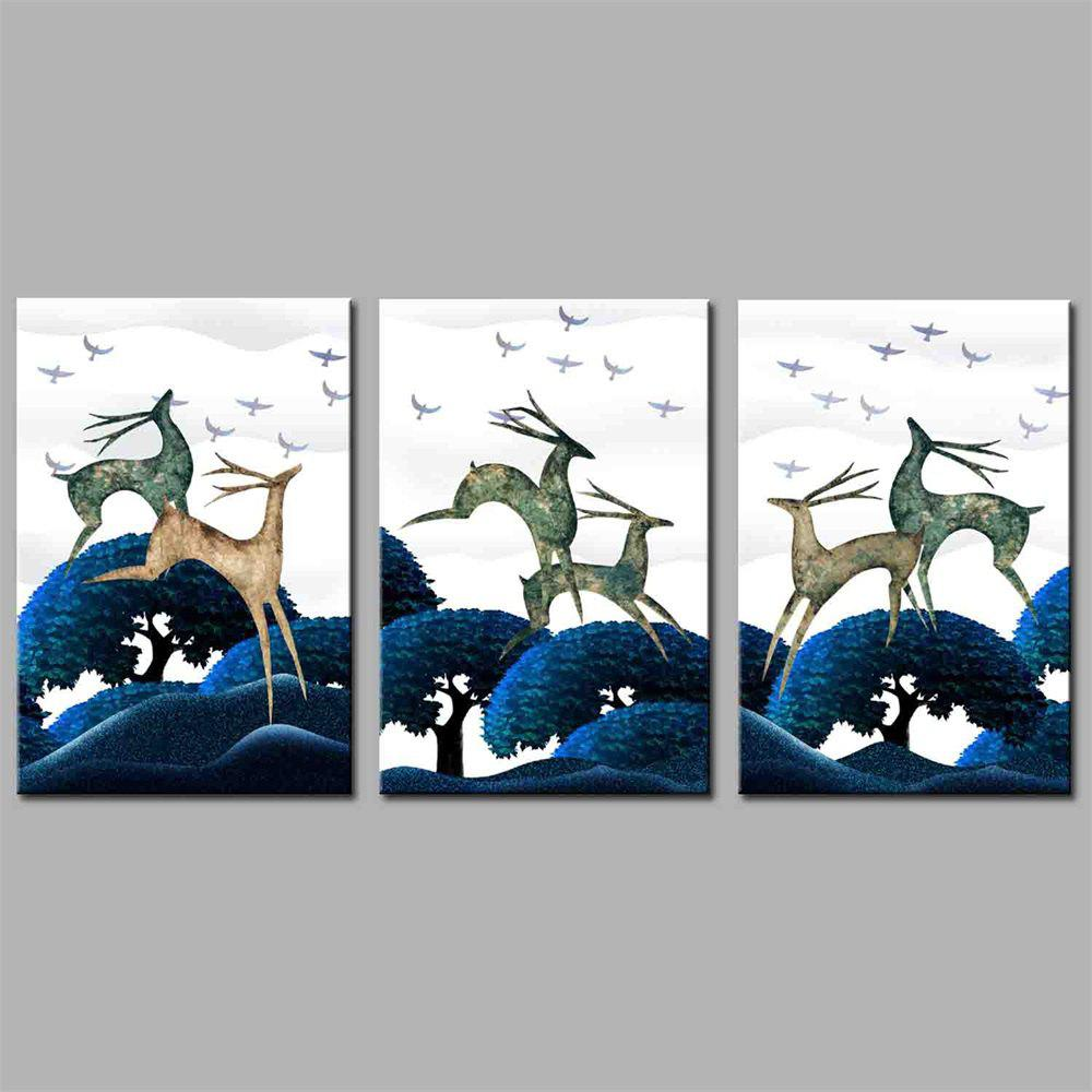 Hua Tuo Deer Style Stretched Frame Ready To Hang Size 50 x 70CM A1755 - BLUE 20 X 28 INCH (50CM X 70CM)
