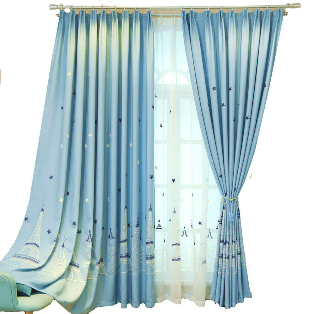 Embroidered Curtain Cartoon curtain  Castle curtain - BLUE 1.4MX2.6M