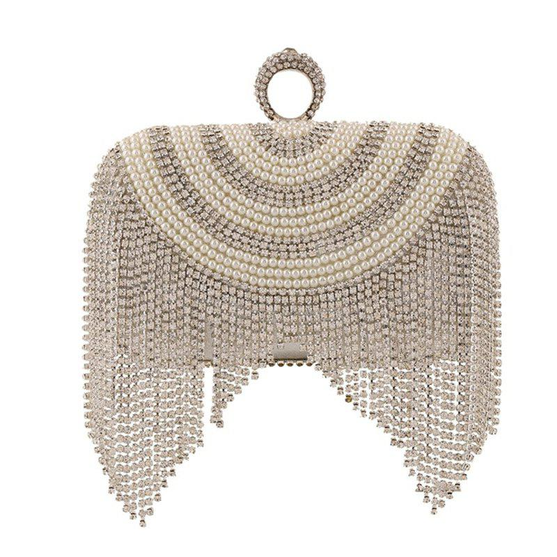 New Diamond-studded Tassel Pearl Dinner Bag - SILVER