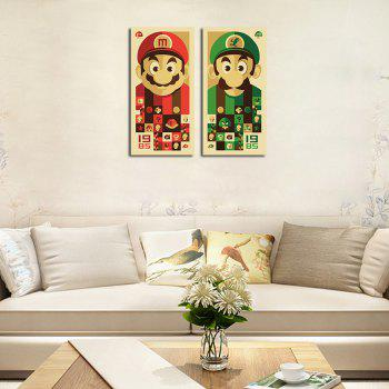 QiaoJiaHuaYuan No Frame Canvas Mario Brothers Group Drawing Sitting Room Bedroom Decoration Painting - COLORMIX