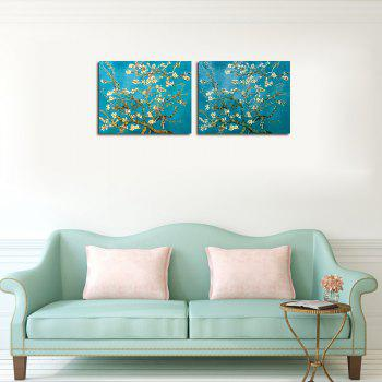QiaoJiaHuaYuan Unframed Canvas Blue Apricot two Pieces of The Living Room Decorative Picture - COLORMIX