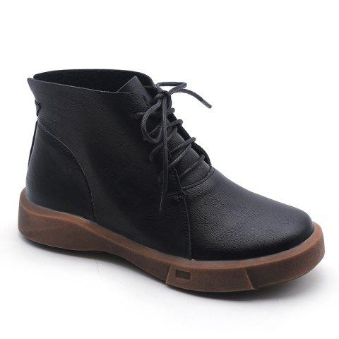Kl161-1 Leisure Pure Color Martin Boots With Short Tube - BLACK 35