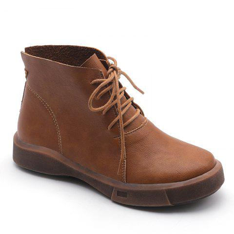 Kl161-1 Leisure Pure Color Boots With Short Tube - LIGHT BROWN 35
