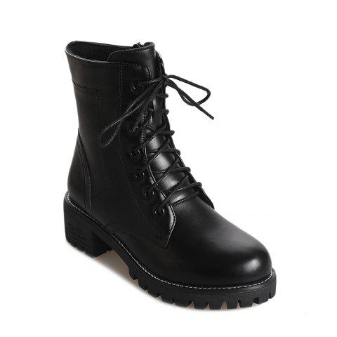 Pure Color Short Tube Low Heel Martin Boots - BLACK 36