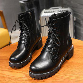 Pure Color Short Tube Low Heel Martin Boots - BLACK 40