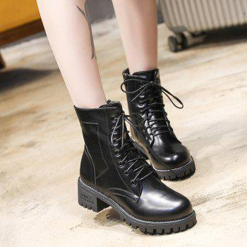 Pure Color Short Tube Low Heel Martin Boots - BLACK 35