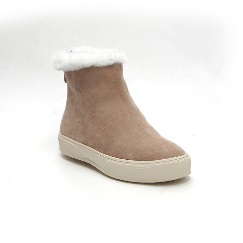 QL1390 Pure Color Short Tube Plush Warm And Flat Heel Boots - APRICOT 36