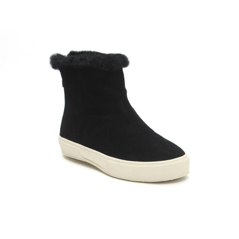 QL1390 Pure Color Short Tube Plush Warm And Flat Heel Boots - BLACK 39