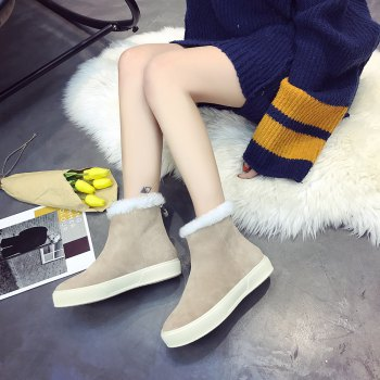 QL1390 Pure Color Short Tube Plush Warm And Flat Heel Boots - APRICOT 37