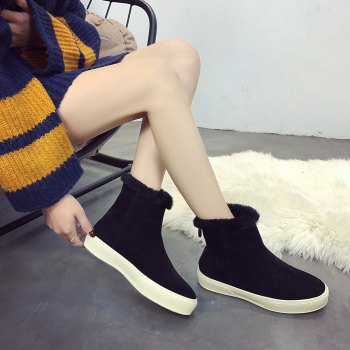 QL1390 Pure Color Short Tube Plush Warm And Flat Heel Boots - BLACK 36