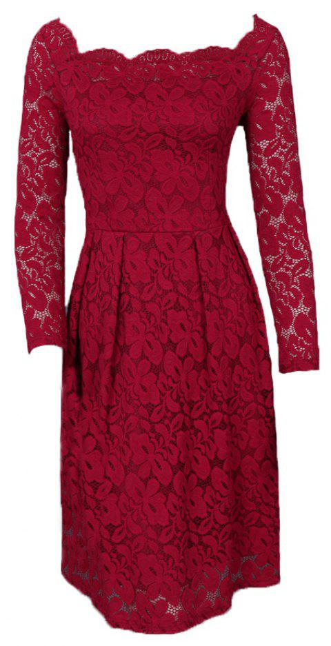Robe Femme Embroidery Vintage Lace  Women Off Shoulder  Long Sleeve Casual Evening Party  Dress - WINE RED S