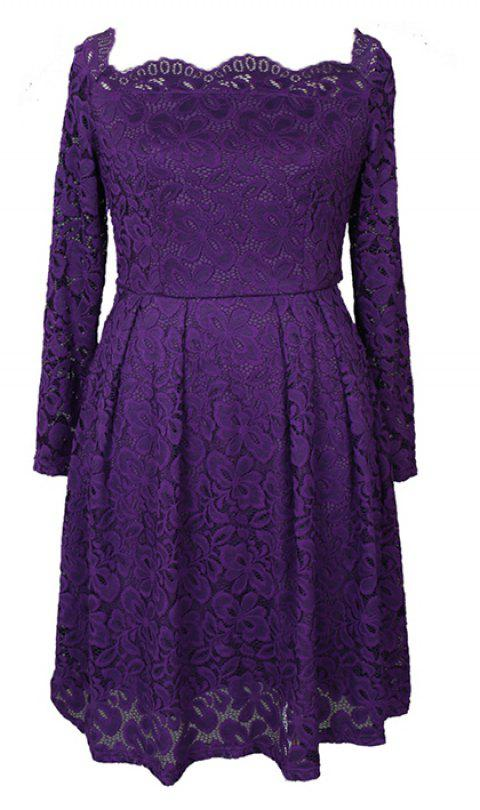 Robe Femme Embroidery Vintage Lace  Women Off Shoulder  Long Sleeve Casual Evening Party  Dress - PURPLE XL